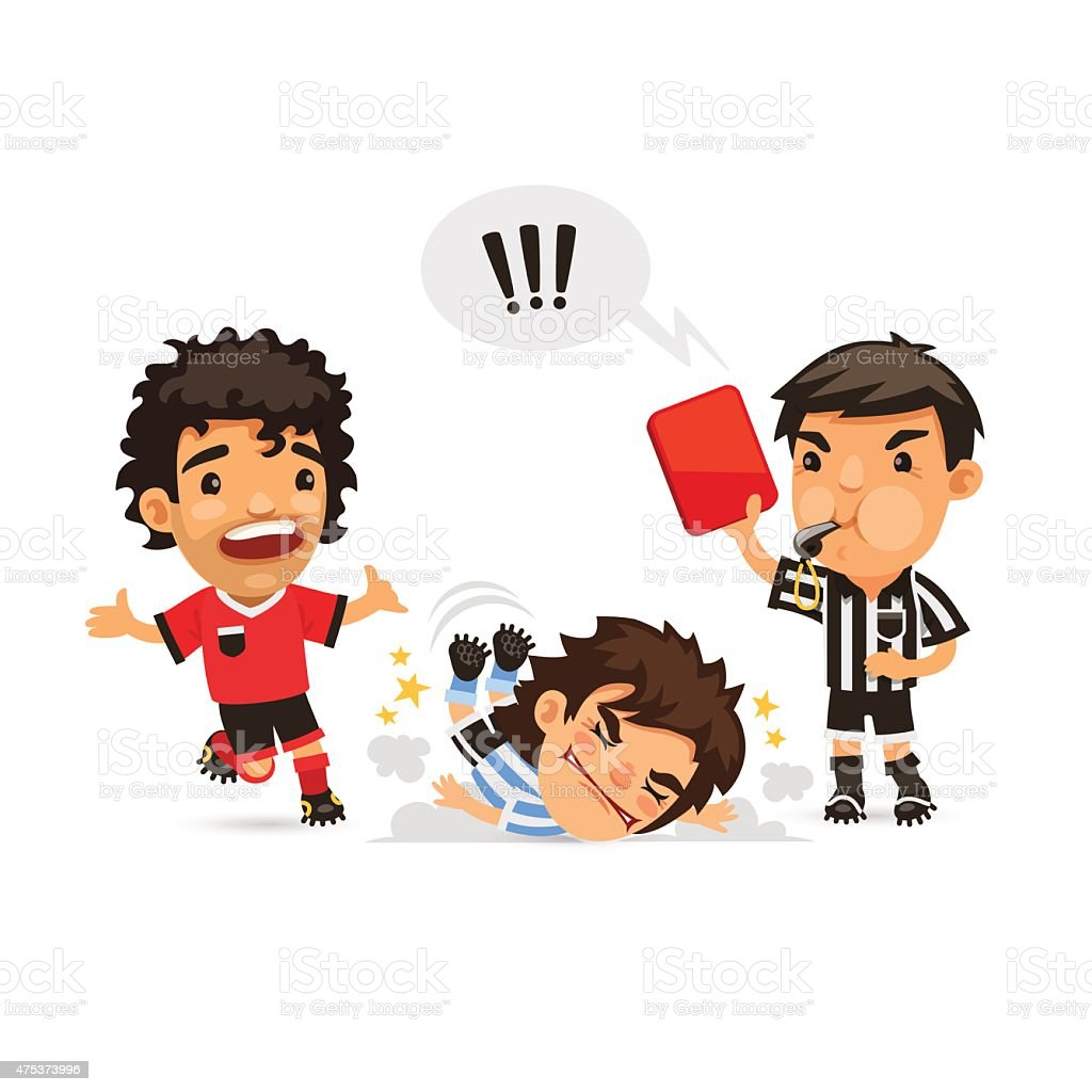 Soccer player who making tackle foul and Referee showing him vector art illustration