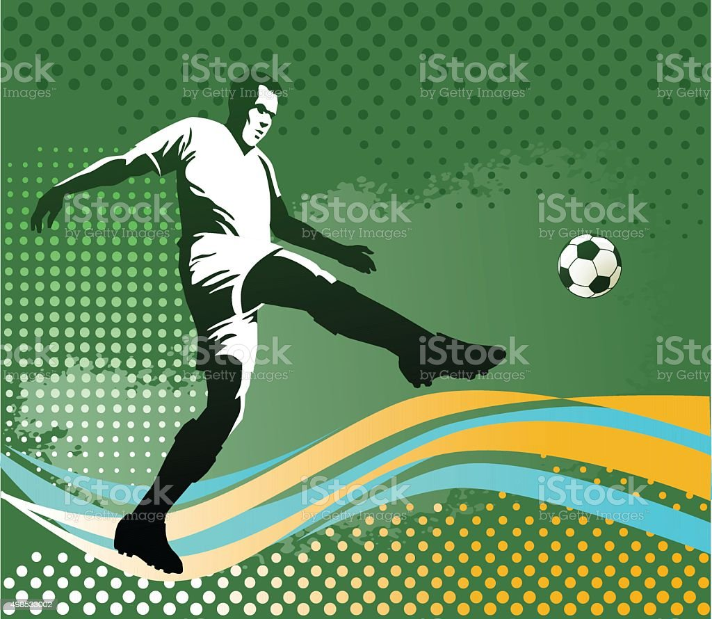 Soccer Player With Ball - Green Background vector art illustration