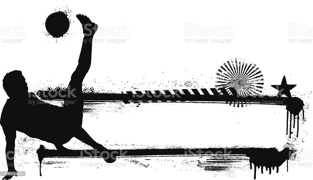 soccer player with grunge banner vector art illustration