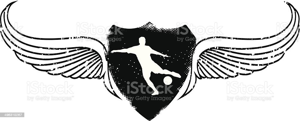 soccer player with grunge shield vector art illustration