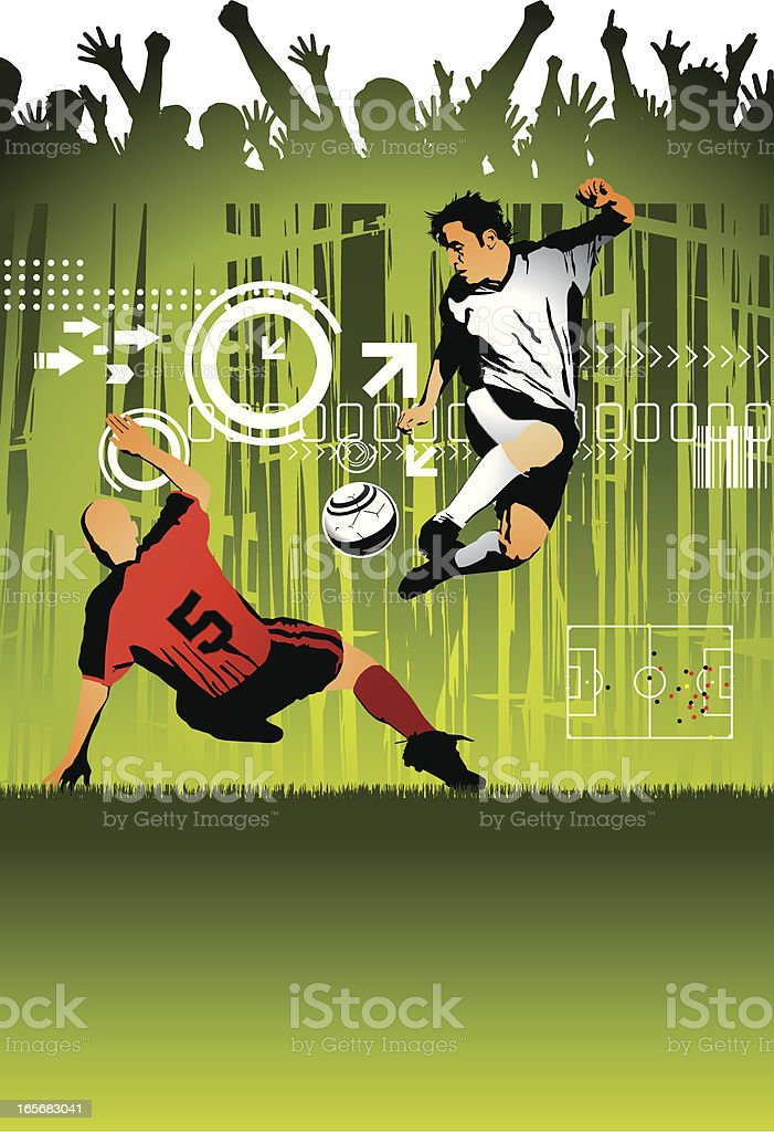Soccer Players and Cheering Crowd vector art illustration