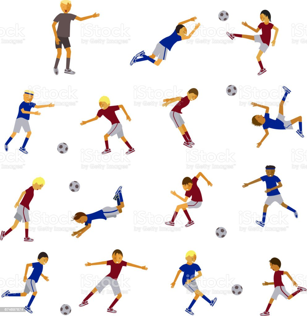 soccer players and referee vector art illustration