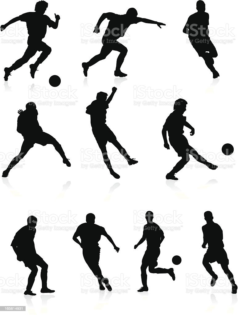 Soccer players - black silhouettes. vector art illustration