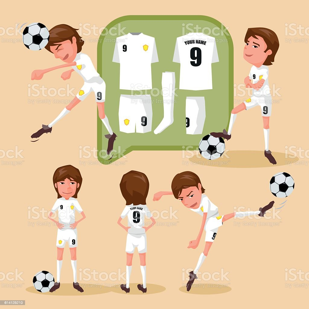 Soccer players characters showing different movement and soccer...