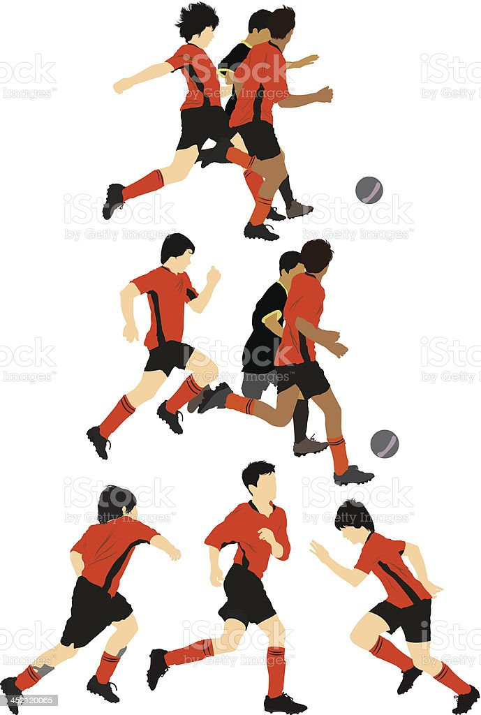 Soccer players in action royalty-free stock vector art