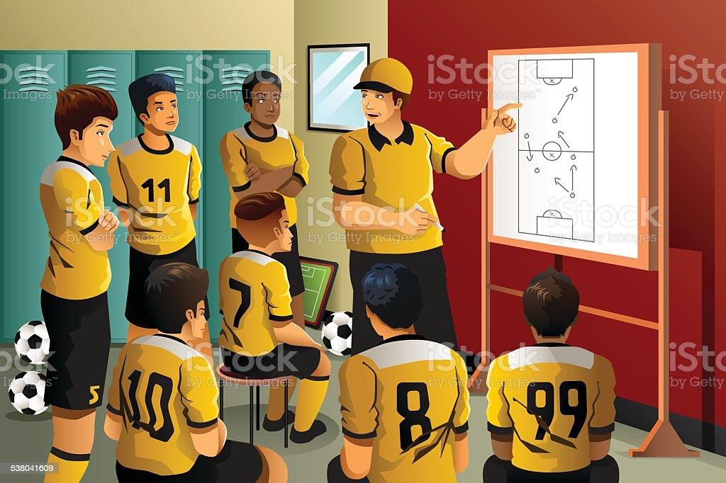 Soccer players in locker room vector art illustration