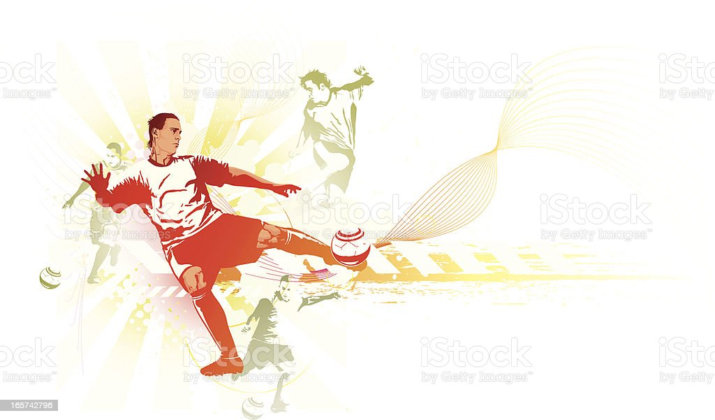 Soccer Players in Multiple Poses vector art illustration