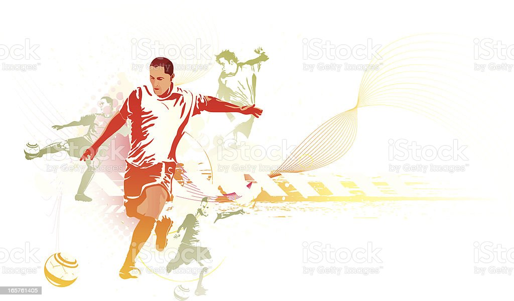Soccer players in multiple poses royalty-free stock vector art
