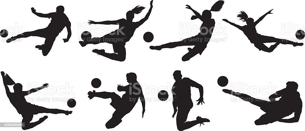 Soccer players kicking the ball vector art illustration