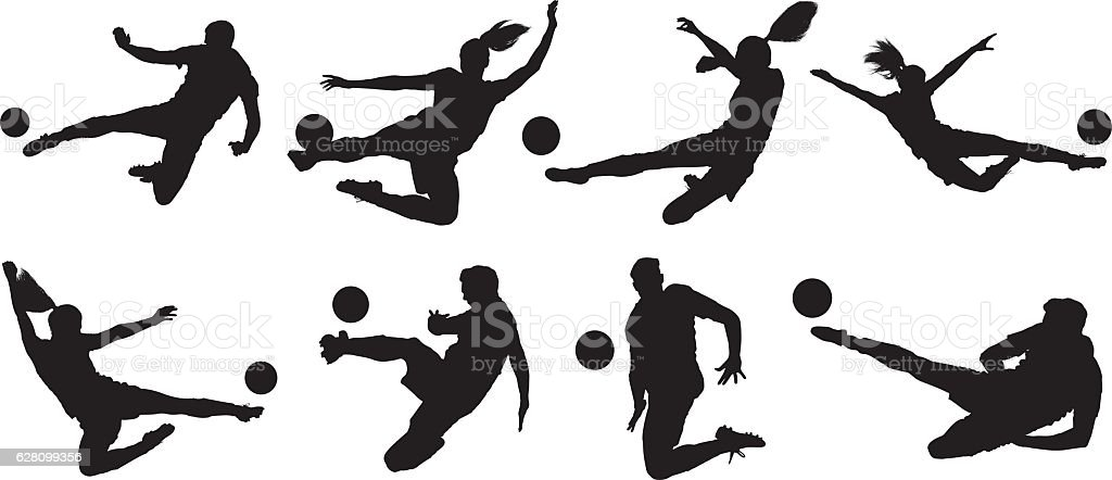 Soccer players kicking the ball vector art illustration