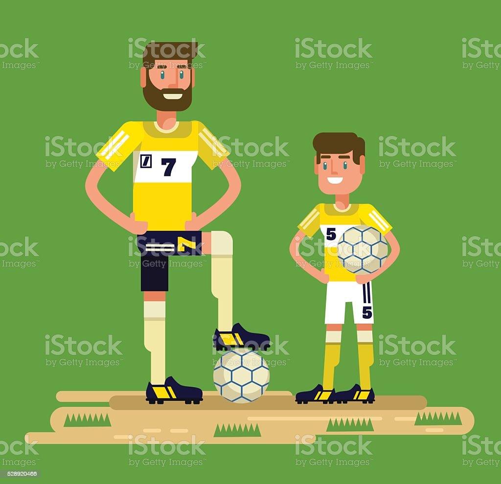 Soccer players. Vector flat cartoon illustration