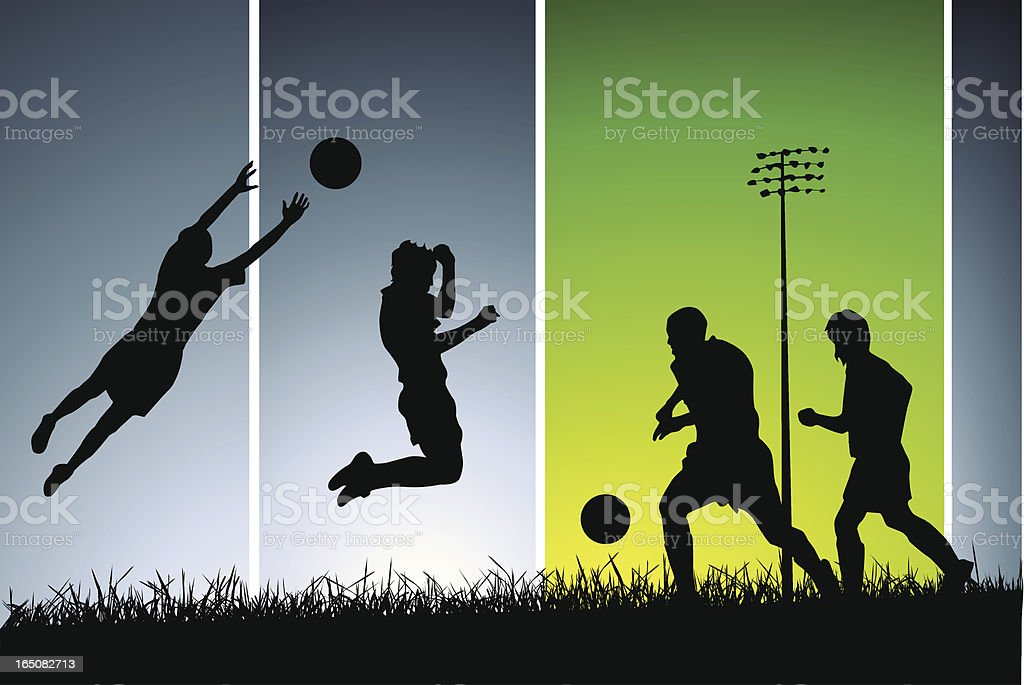 Soccer players vector art illustration