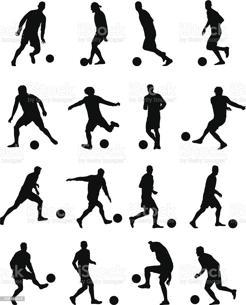 Soccer players vector art illustration