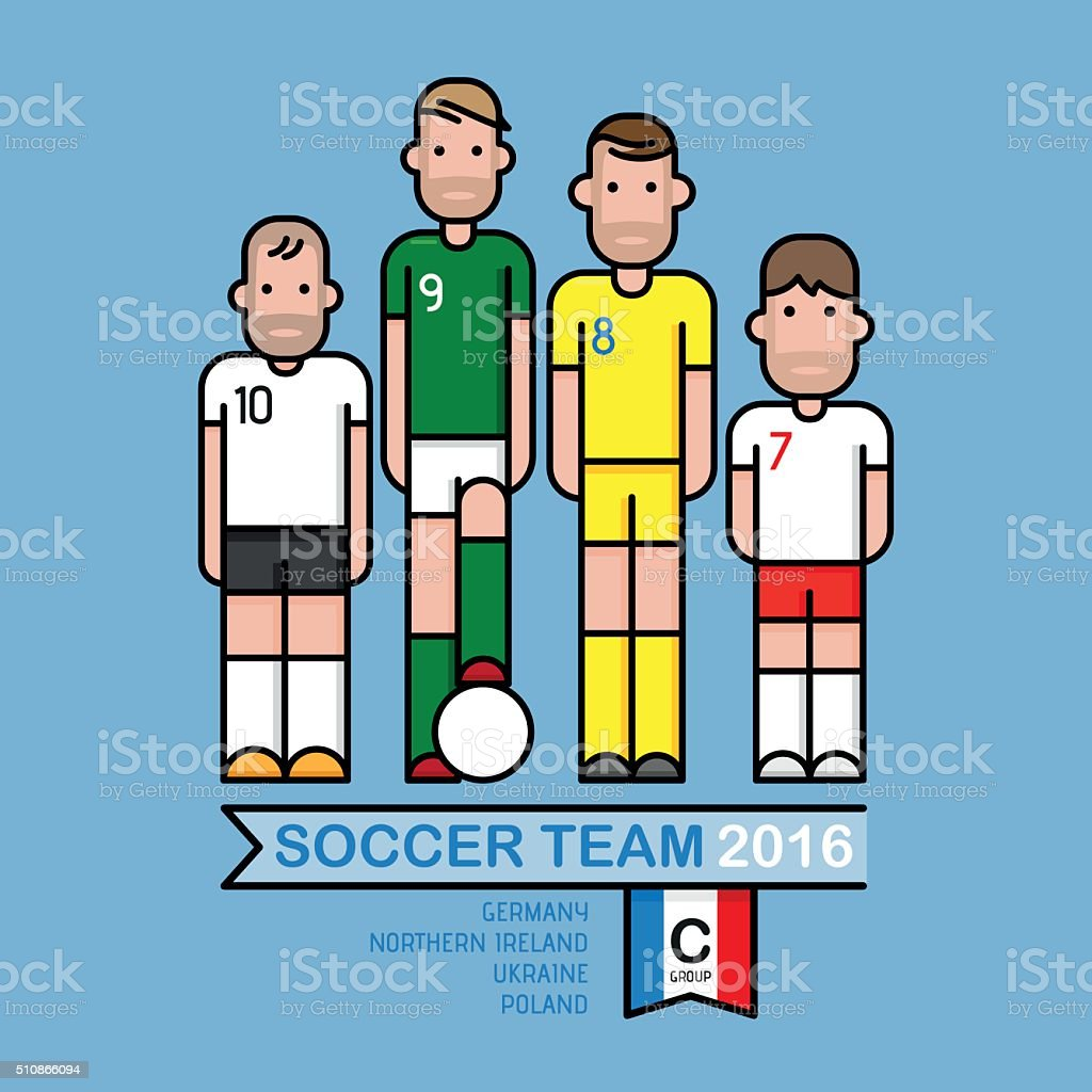 Soccer players with icon set. vector art illustration