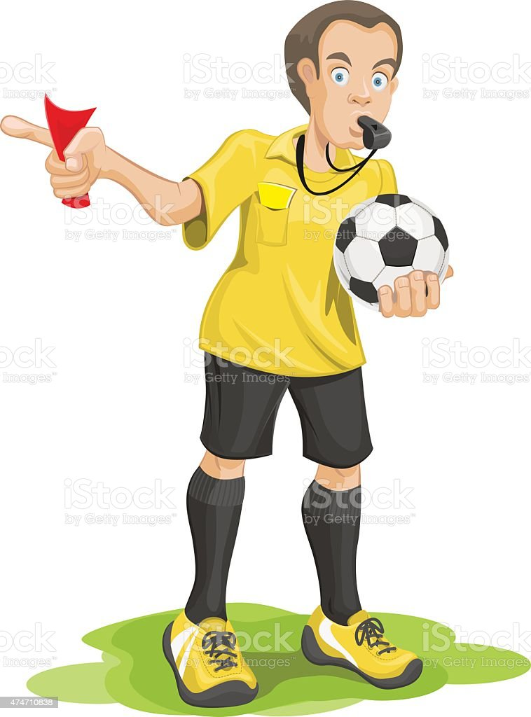 Soccer referee whistles and shows red card. vector art illustration
