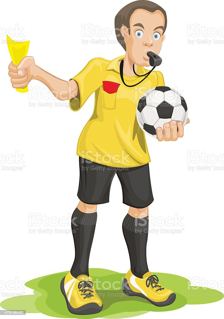 Soccer referee whistles and shows yellow card. vector art illustration