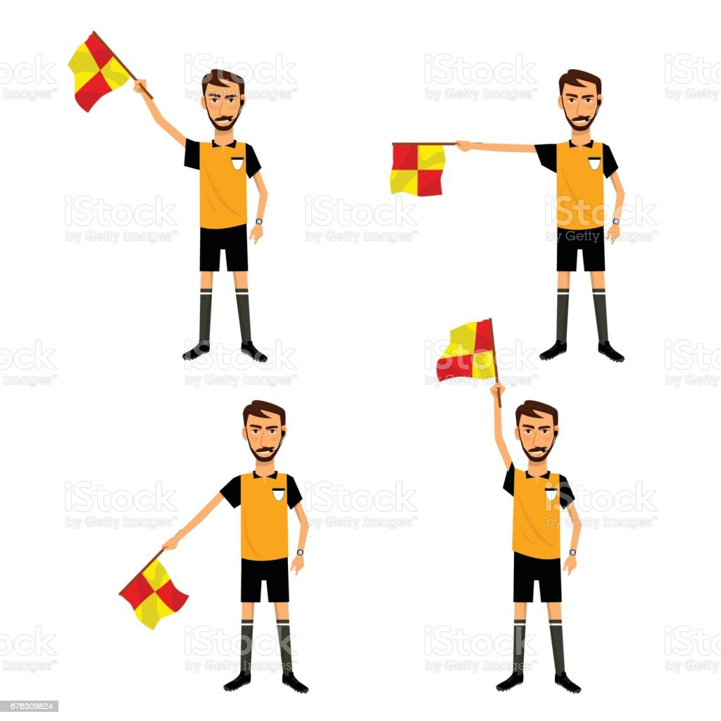Soccer referee with signal flag in hand. Checkered flag signs. vector art illustration