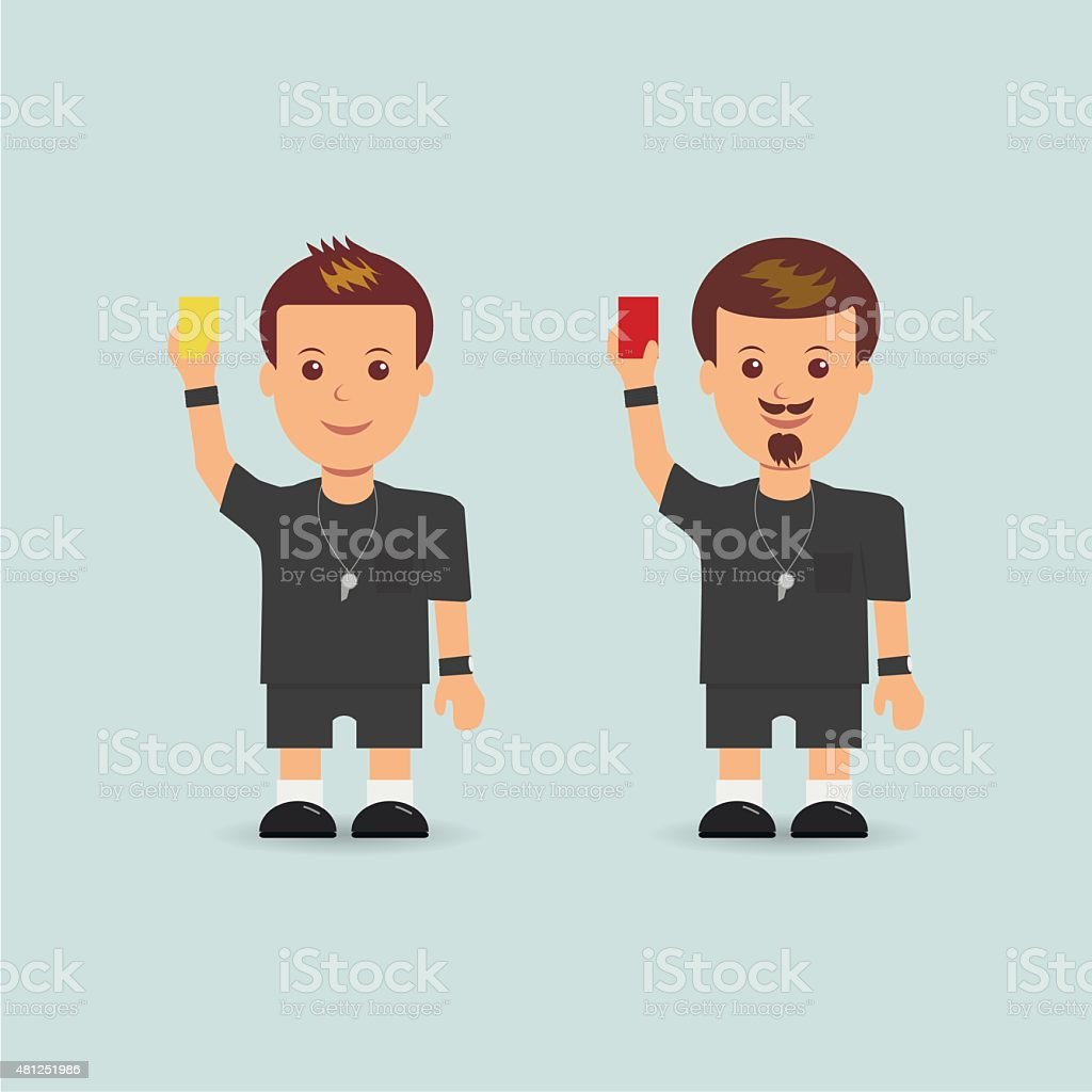 Soccer referees holding red and yellow card vector art illustration