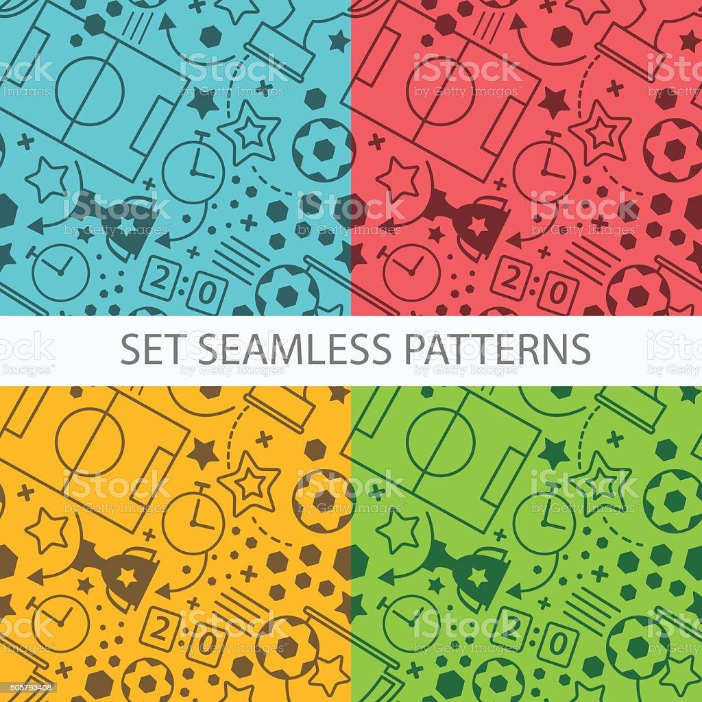 Soccer seamless pattern set. Sport vector background vector art illustration