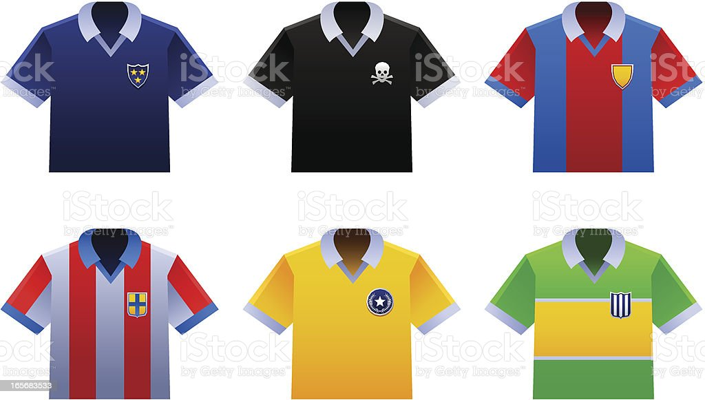 Soccer shirts of various countries royalty-free stock vector art