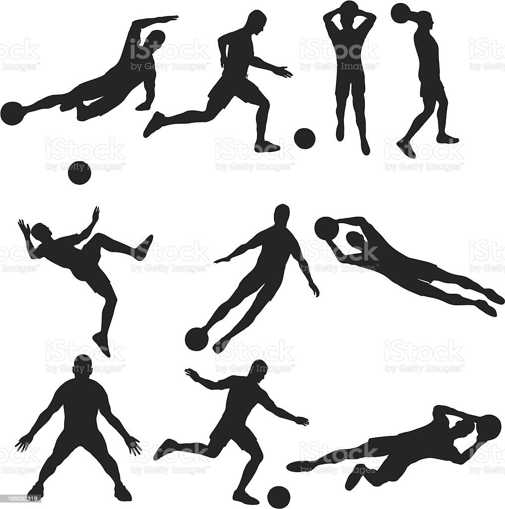 Soccer Silhouette Collection (vector+jpg) royalty-free stock vector art