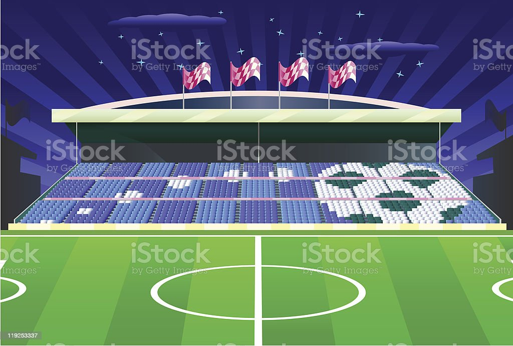 Soccer stadium with detailed tribune. royalty-free stock vector art