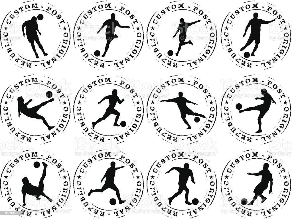 soccer stamp mark with many players royalty-free stock vector art