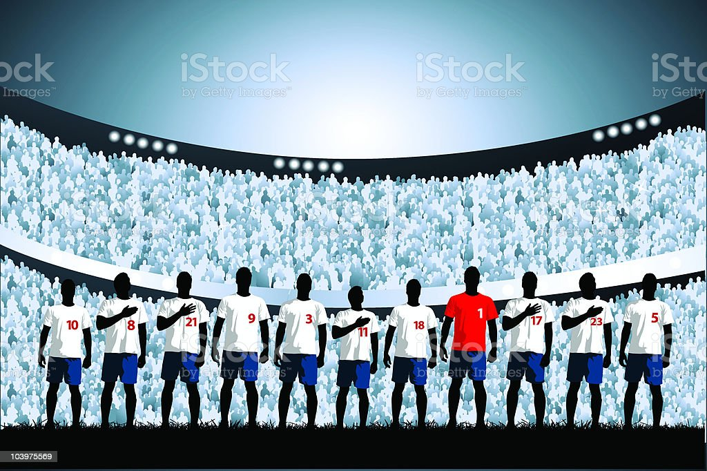 Soccer starting line up vector art illustration