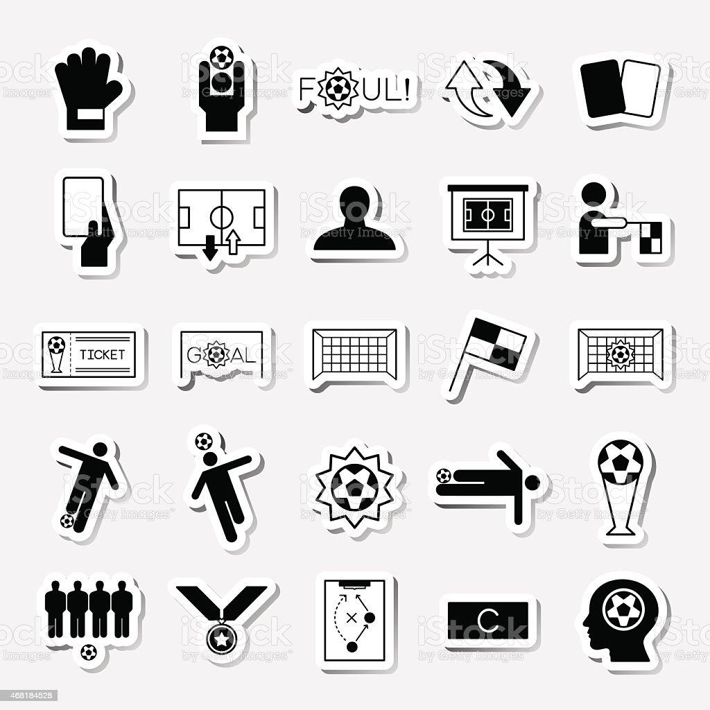 Soccer sticker icons set vector illustration vector art illustration