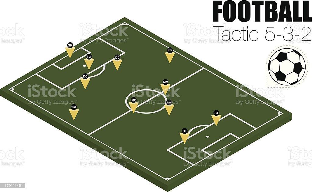 Soccer strategy formation type 5-3-2. EPS10 vector art illustration
