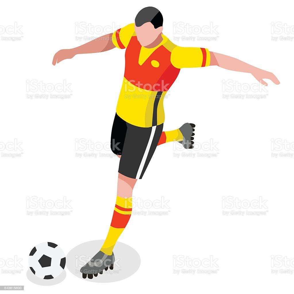 Soccer Striker Player Athlete Sports Icon Set.3D Isometric Field...