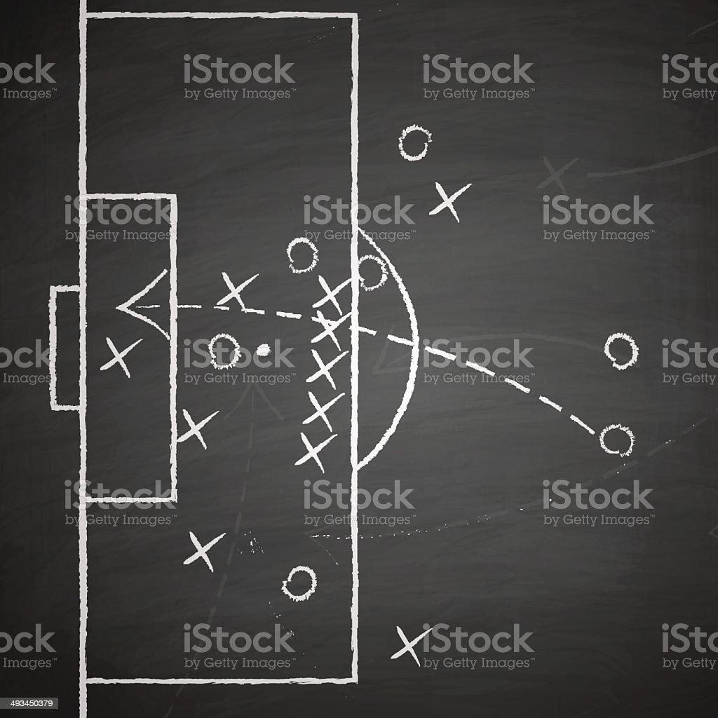 soccer tactic on blackboard vector art illustration