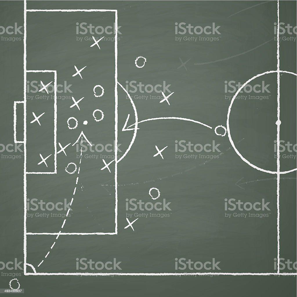 soccer tactic on board vector art illustration