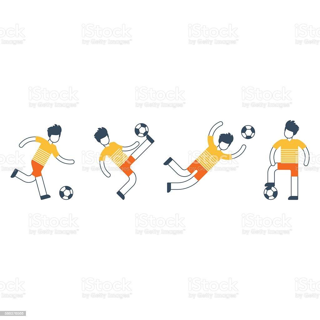 Soccer team uniform, different football players kicking ball vector art illustration
