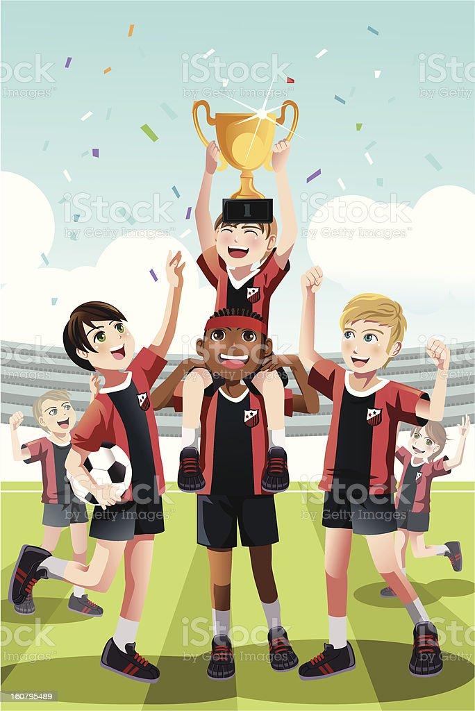 Soccer team winning royalty-free stock vector art