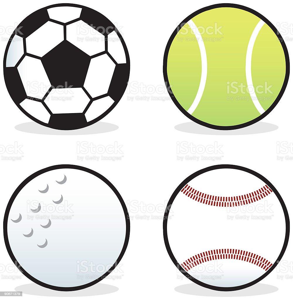 Soccer, Tennis, Golf and Baseballs royalty-free stock vector art