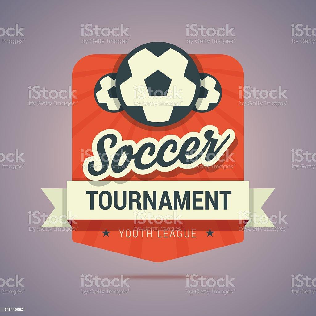 Soccer tournament badge vector art illustration