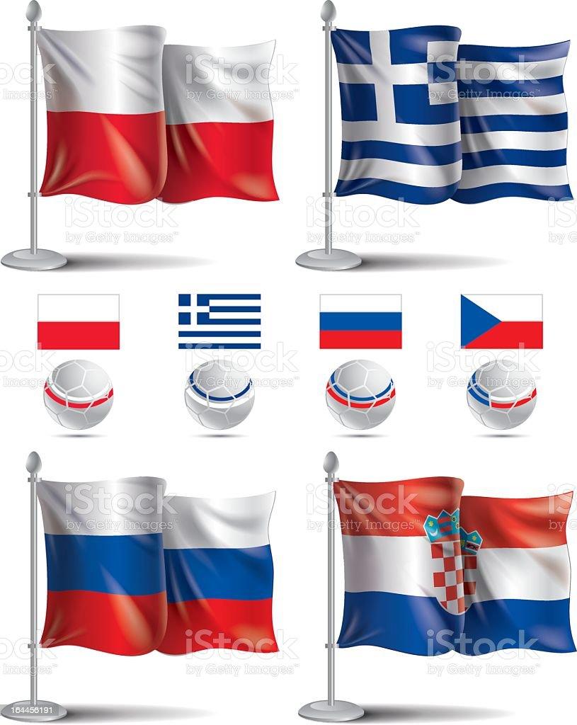 Soccer UEFA EURO 2012 - group A. Flags icons royalty-free stock vector art