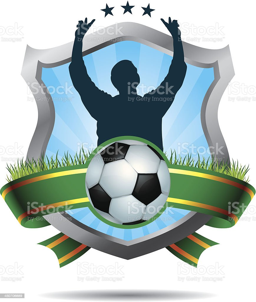Soccer winners emblem vector art illustration