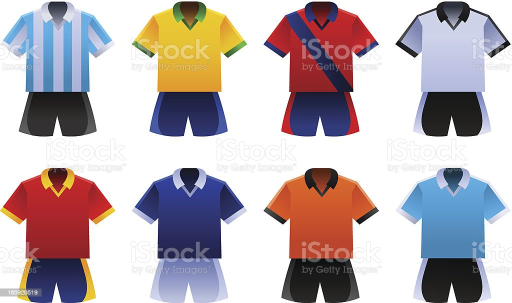 Soccer World Cup Uniforms royalty-free stock vector art
