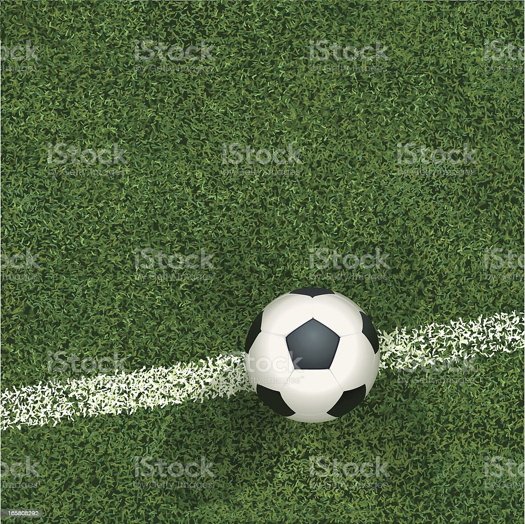 Soccerball and Grass Top View vector art illustration