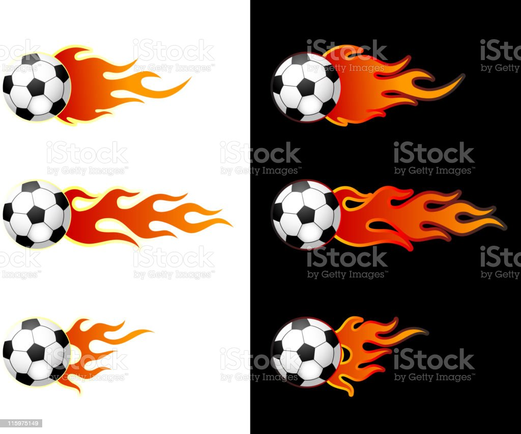 Soccerball with flame vector art illustration