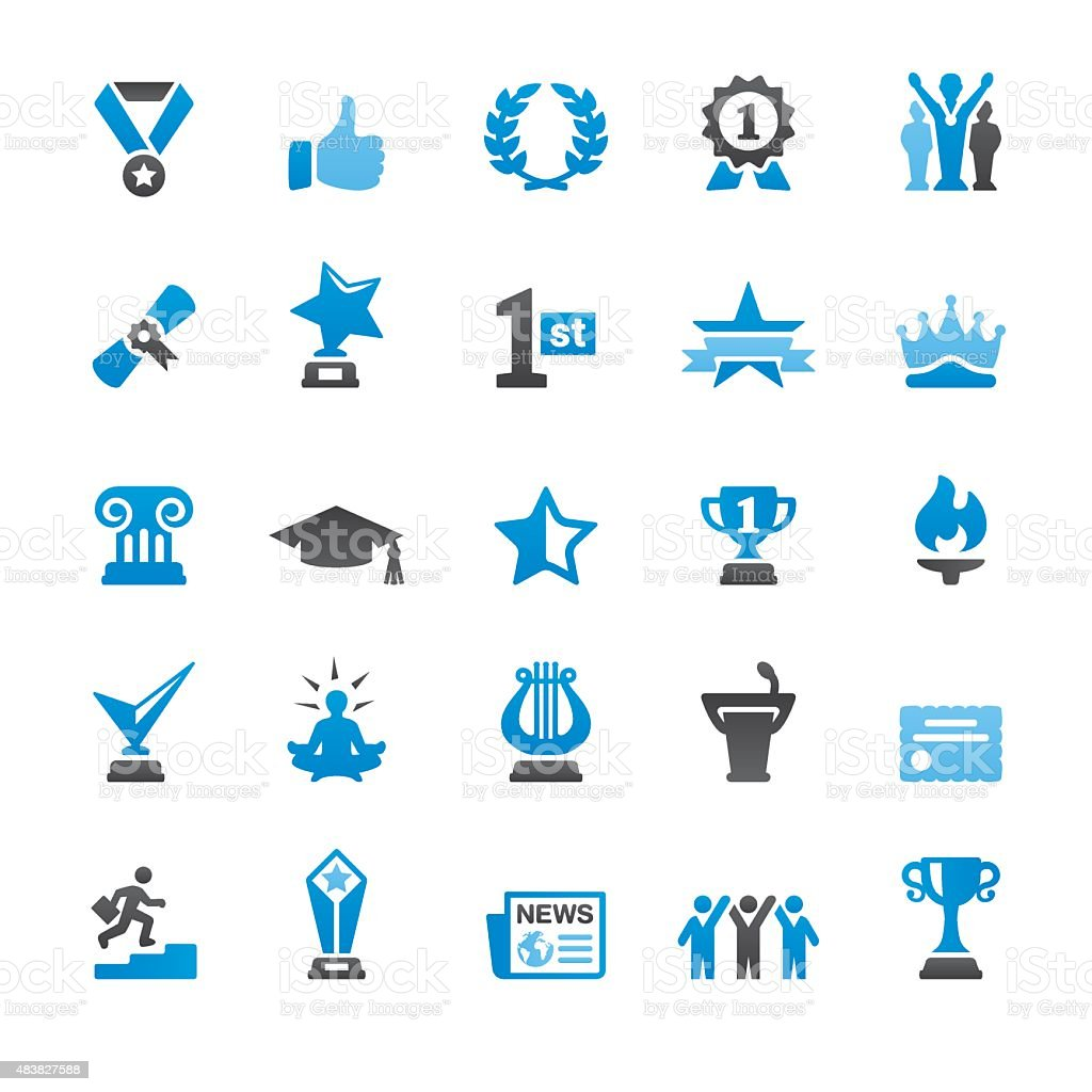 Social Achievement related vector icons vector art illustration