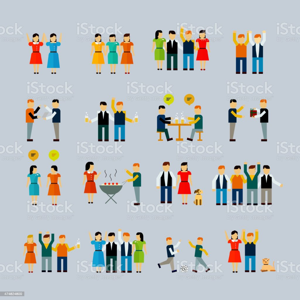 social activity flat icon set vector art illustration