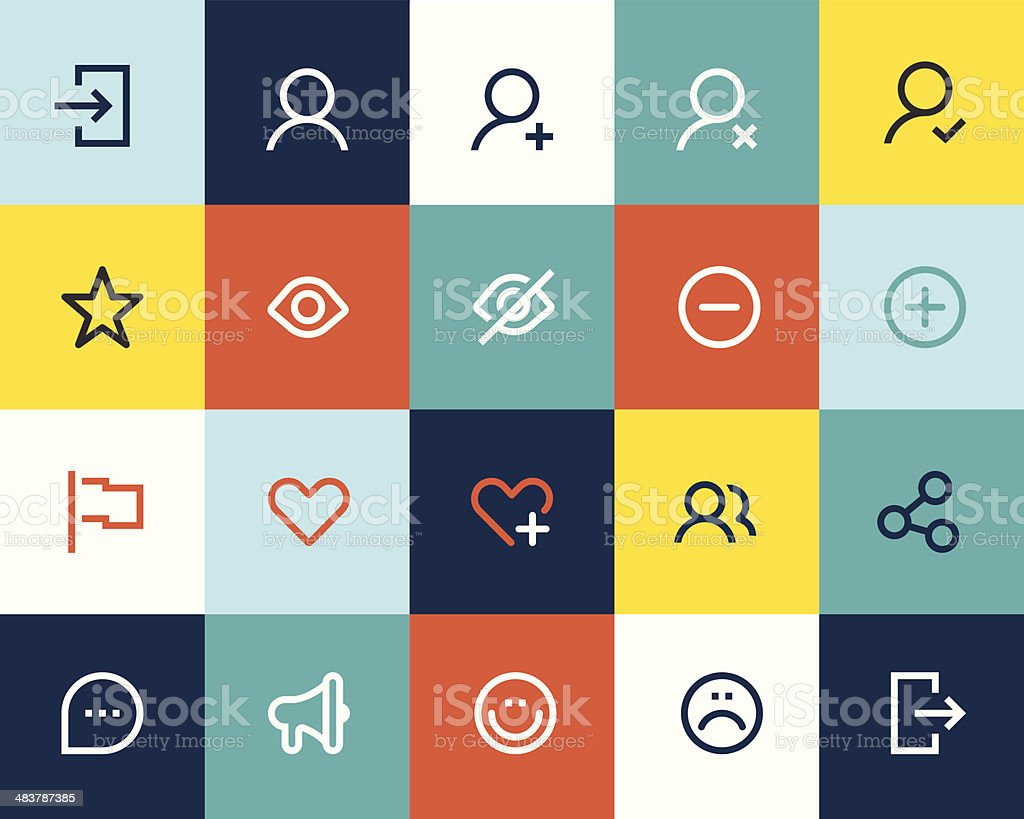 Social and communication icons. Flat vector art illustration