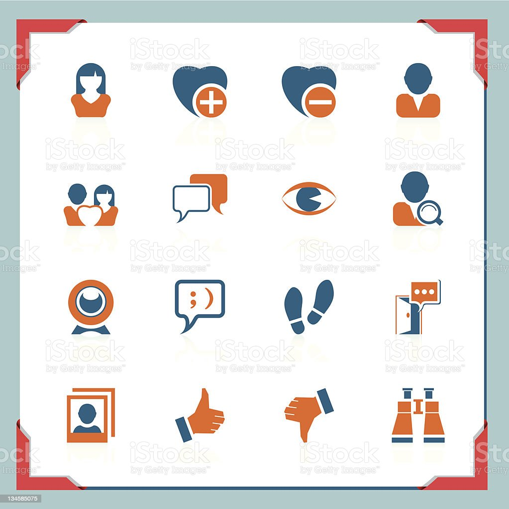 Social and communication icons | In a frame series royalty-free stock vector art