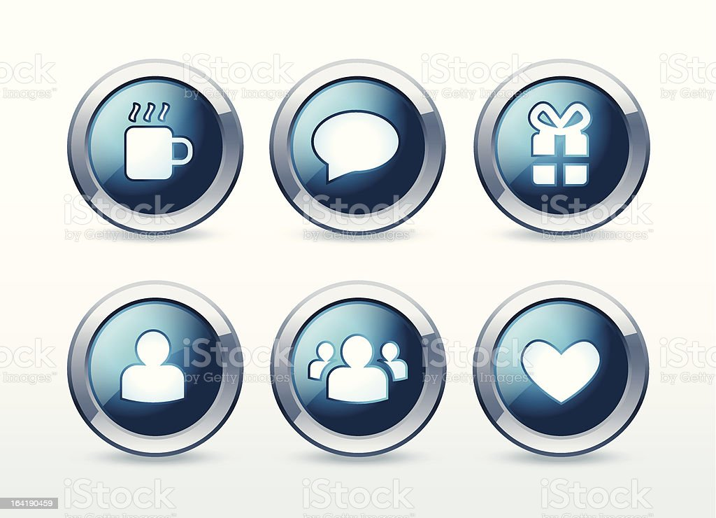 Social and web communication icons set royalty-free stock vector art