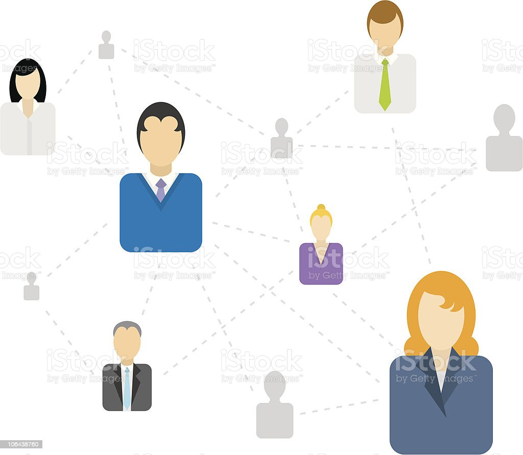 Social / Business network connecting vector art illustration