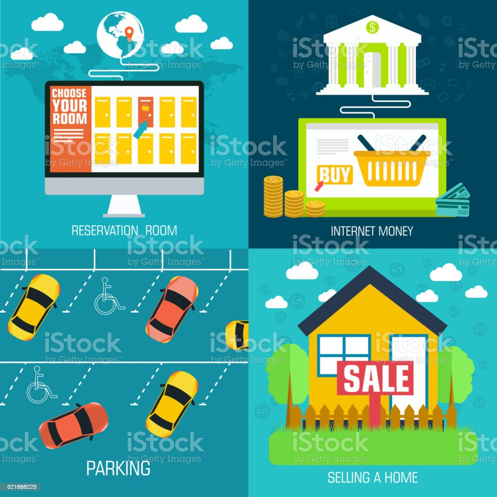 social business travel, online banking, parking and sale house vector art illustration