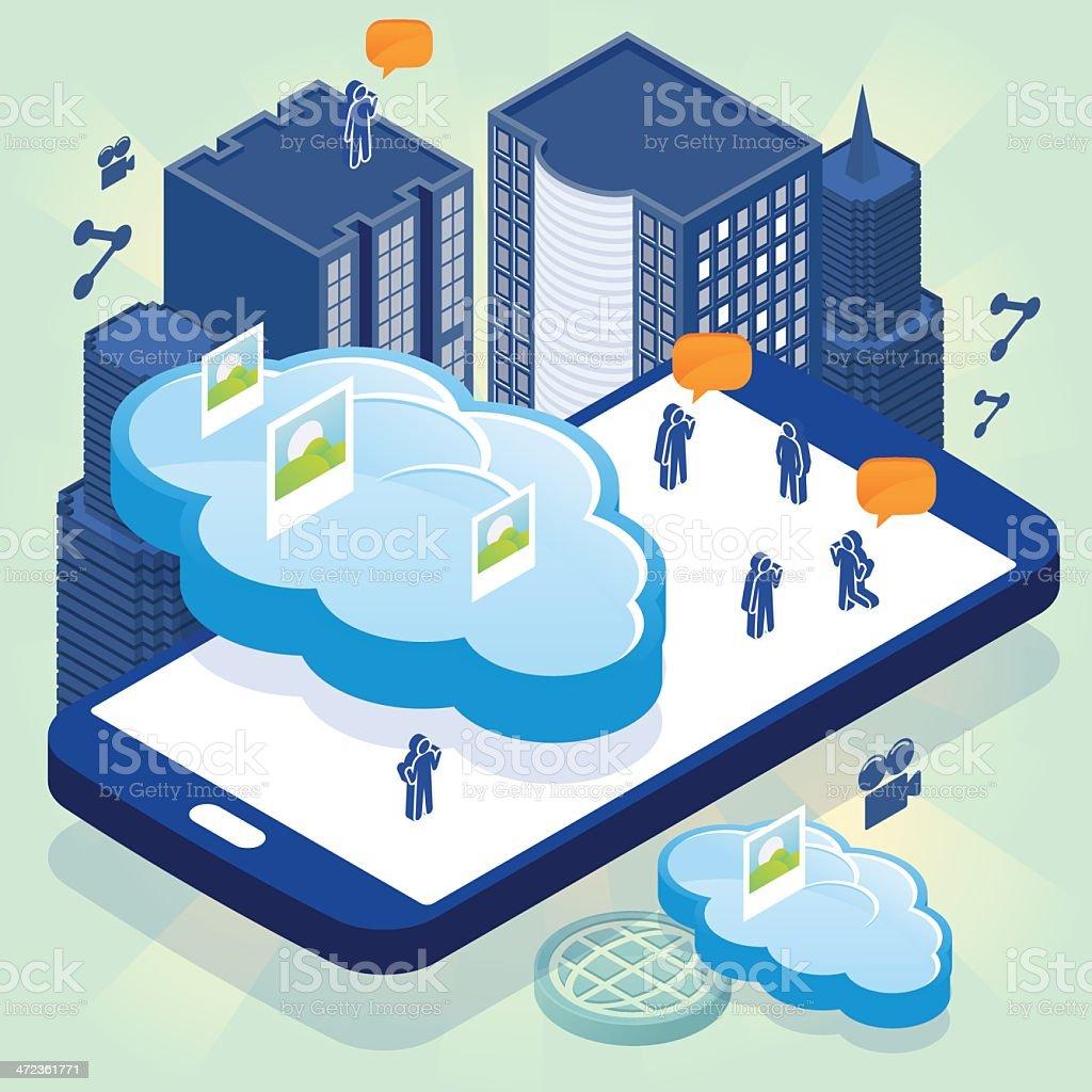 Social cloud computing phone royalty-free stock vector art